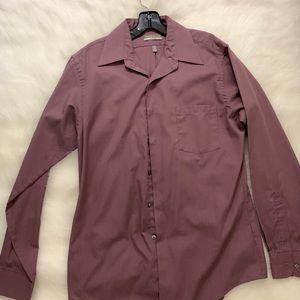 Van Heusen Fitted Purple Dress Shirt